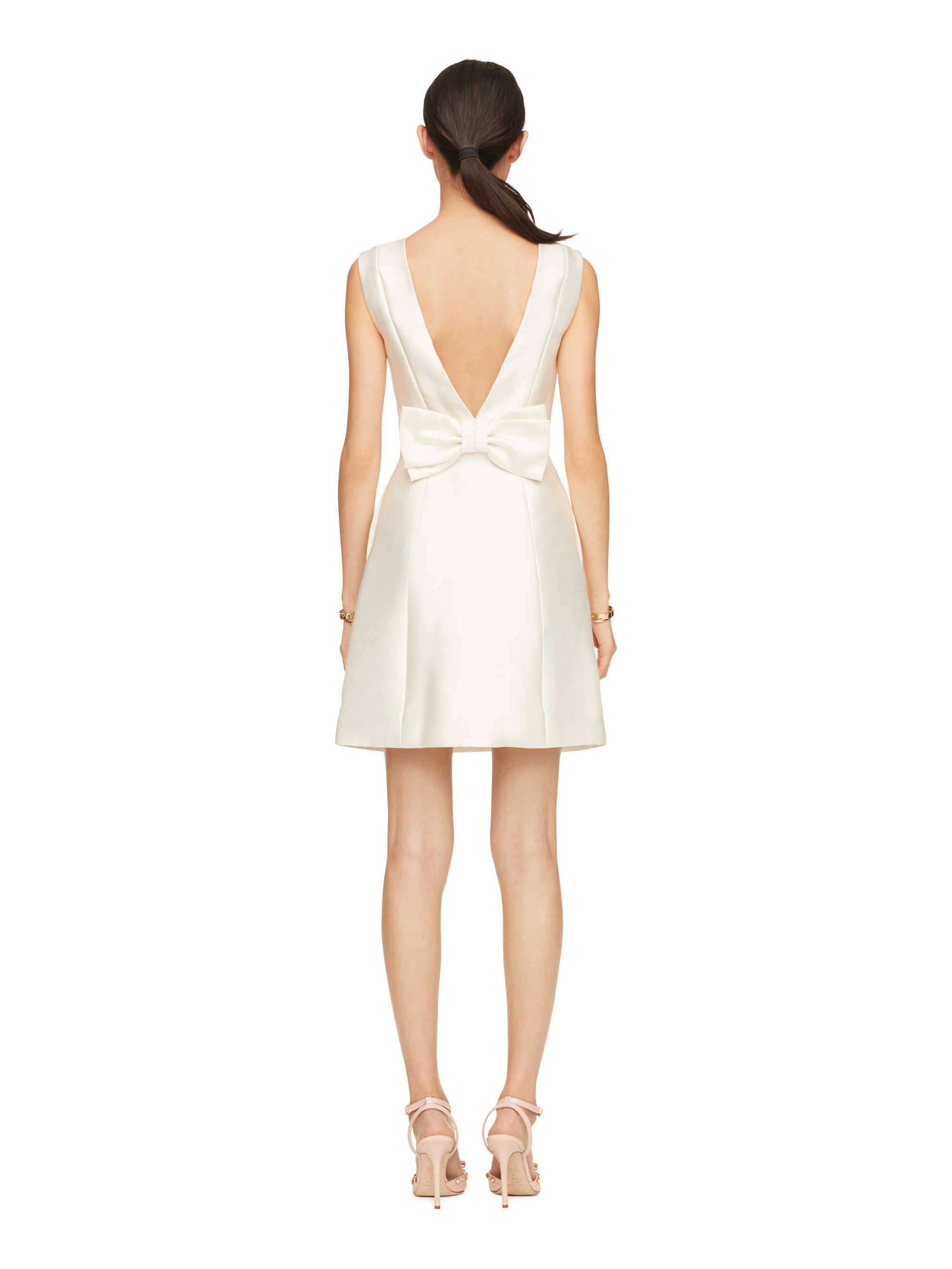 Kate spade new york Open Back Bow Dress in Natural