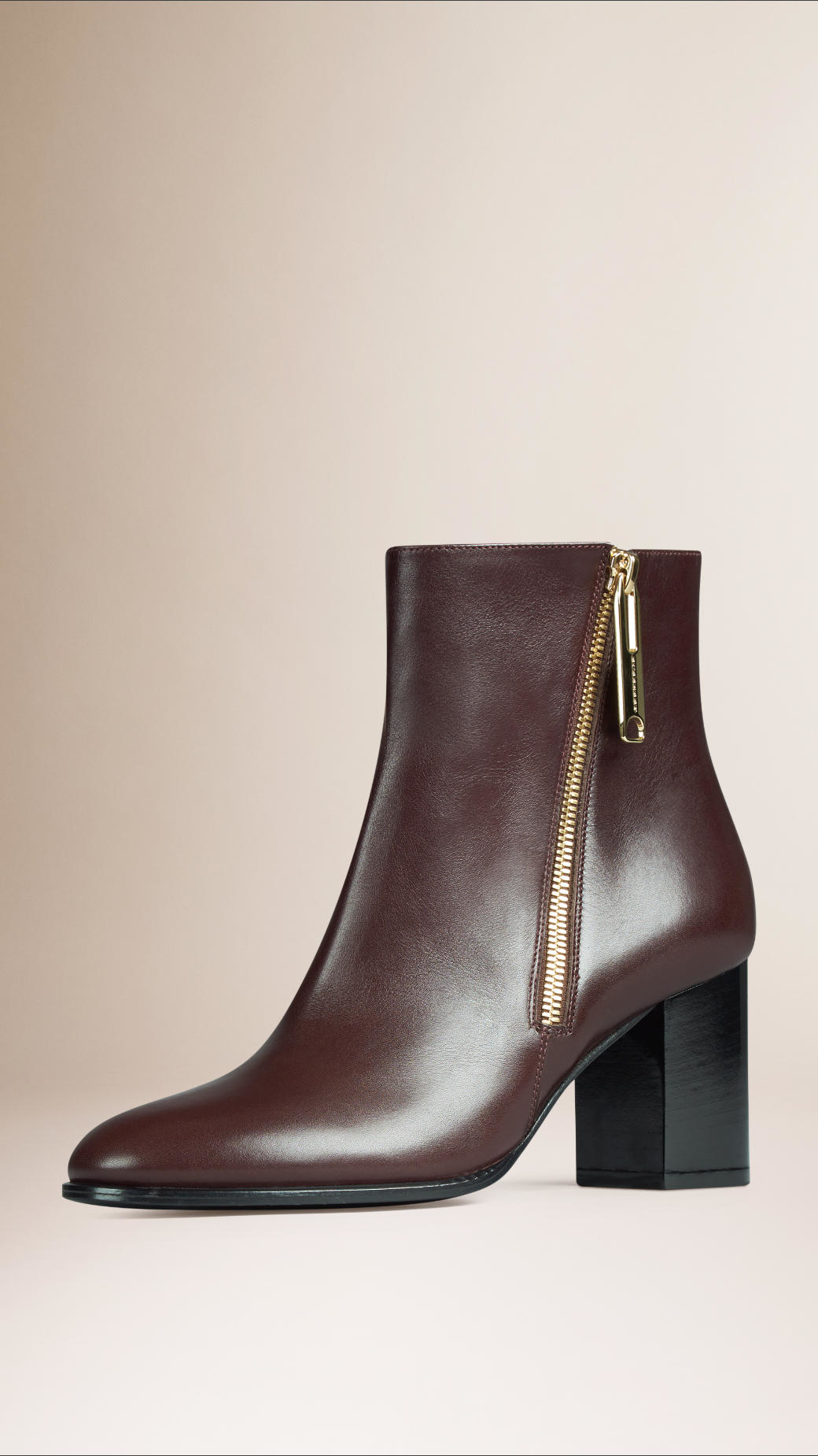 burberry zip detail leather ankle boots in brown lyst