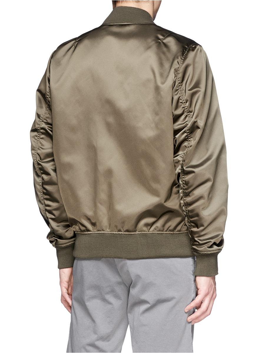 Lyst Maison Kitsun 233 Satin Bomber Jacket In Green For Men