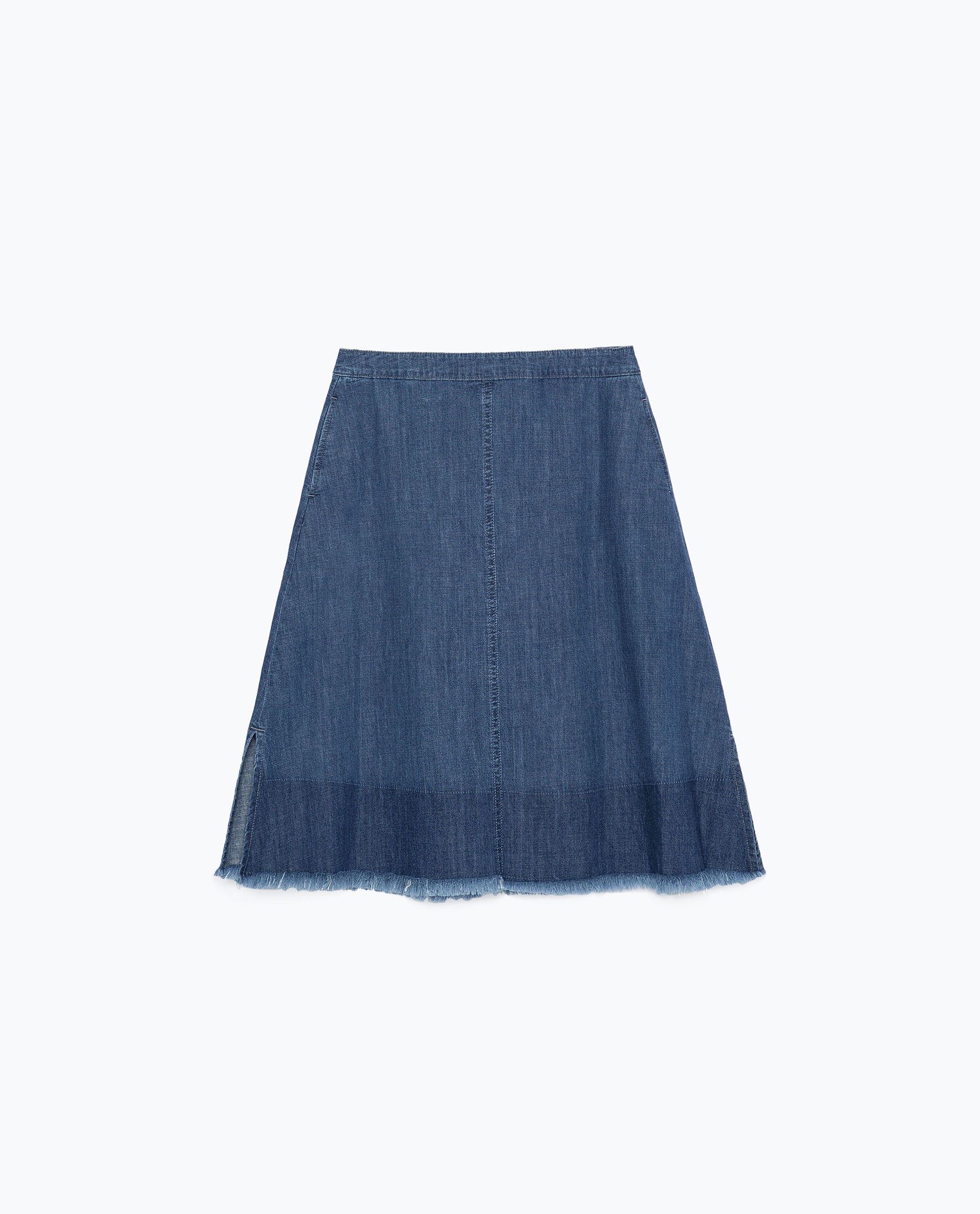 zara mid length frayed denim skirt in blue lyst