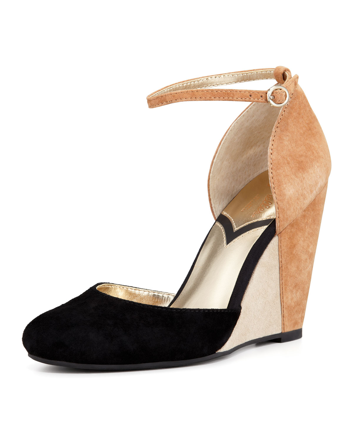 seychelles fight with colorblock suede wedge
