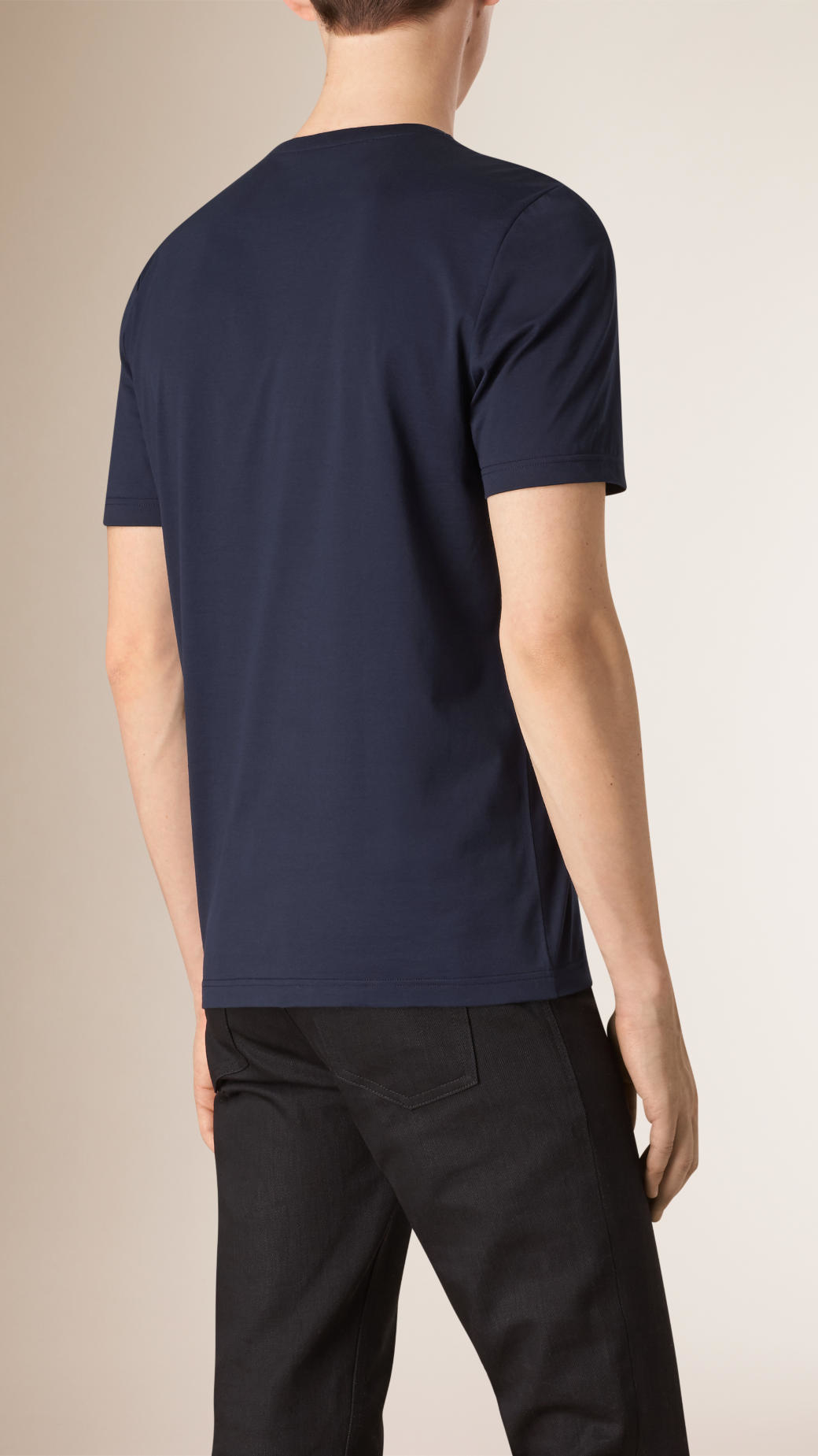 lyst burberry cotton t shirt with embroidered pocket in. Black Bedroom Furniture Sets. Home Design Ideas