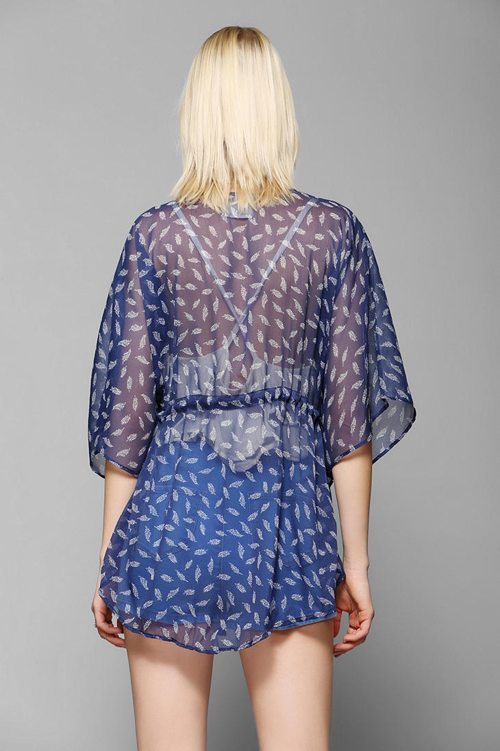 Lyst Pins And Needles Cinched Kimono Jacket In Blue