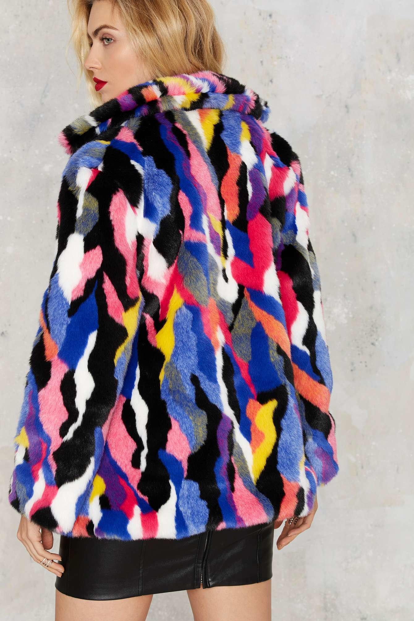 Lyst Nasty Gal Favorite Color Faux Fur Jacket