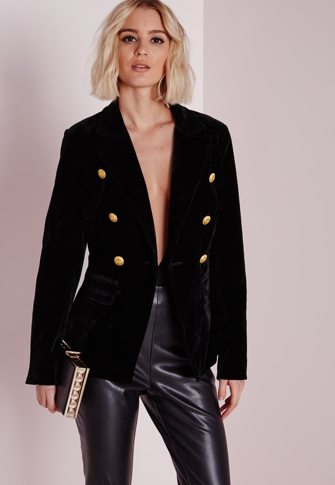missguided gold button velvet blazer black in black lyst. Black Bedroom Furniture Sets. Home Design Ideas