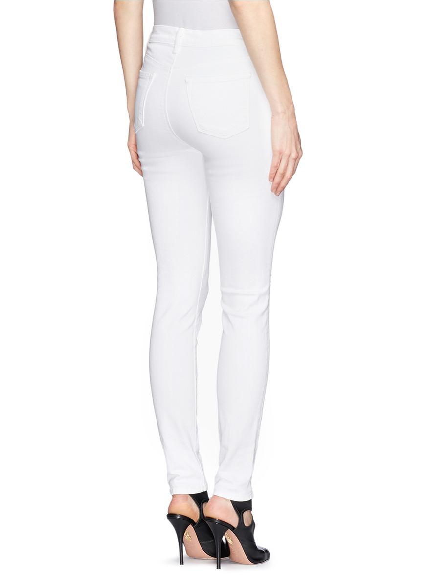 J Brand 'Maria' High Rise Skinny Jeans in White - Lyst