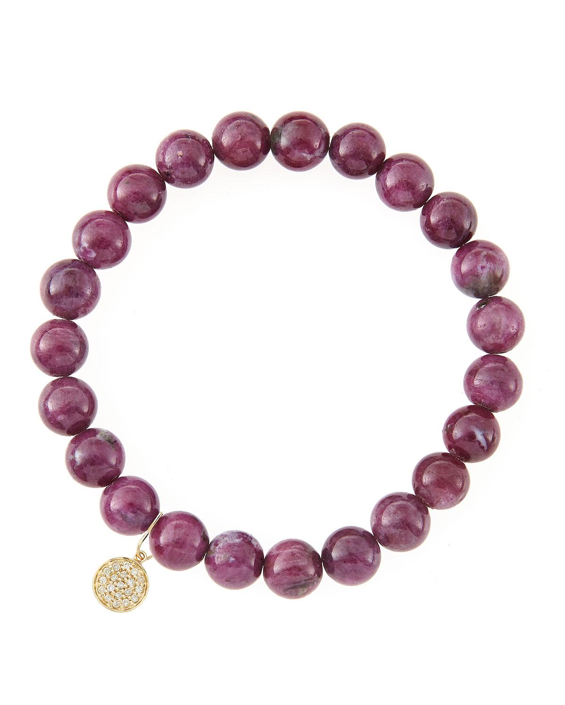 sydney evan 8mm natural ruby beaded bracelet with 14k gold