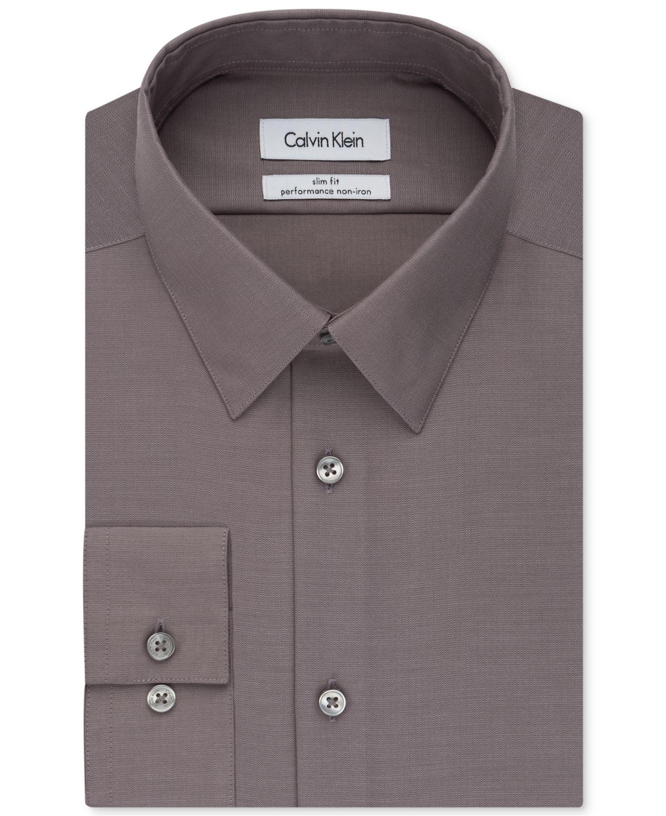 Calvin klein steel men 39 s slim fit non iron performance for Slim fit non iron shirts
