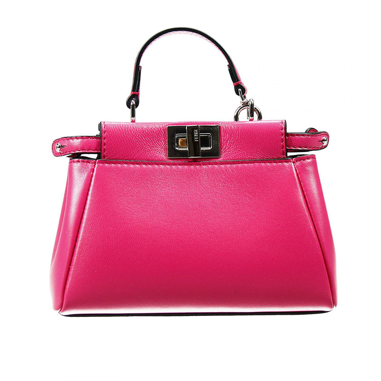 eb3fe2be020 Lyst - Fendi Handbag Leather With Shoulder Micro Peekaboo Bag in Pink