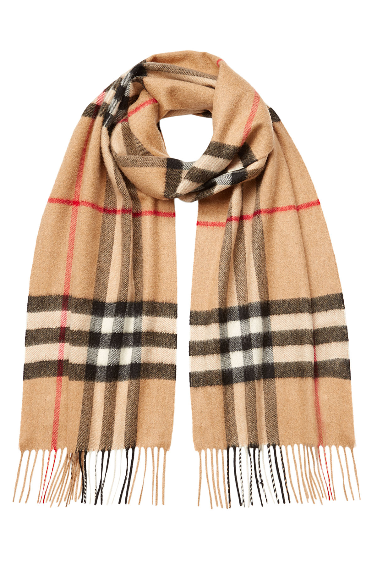 Burberry Checked Cashmere Scarf Beige In Brown For Men