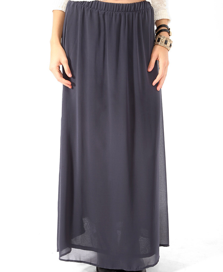 forever 21 chiffon maxi skirt in gray lyst