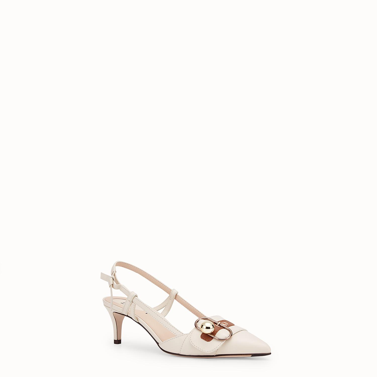 Fendi Leather Court Shoes in White - Lyst