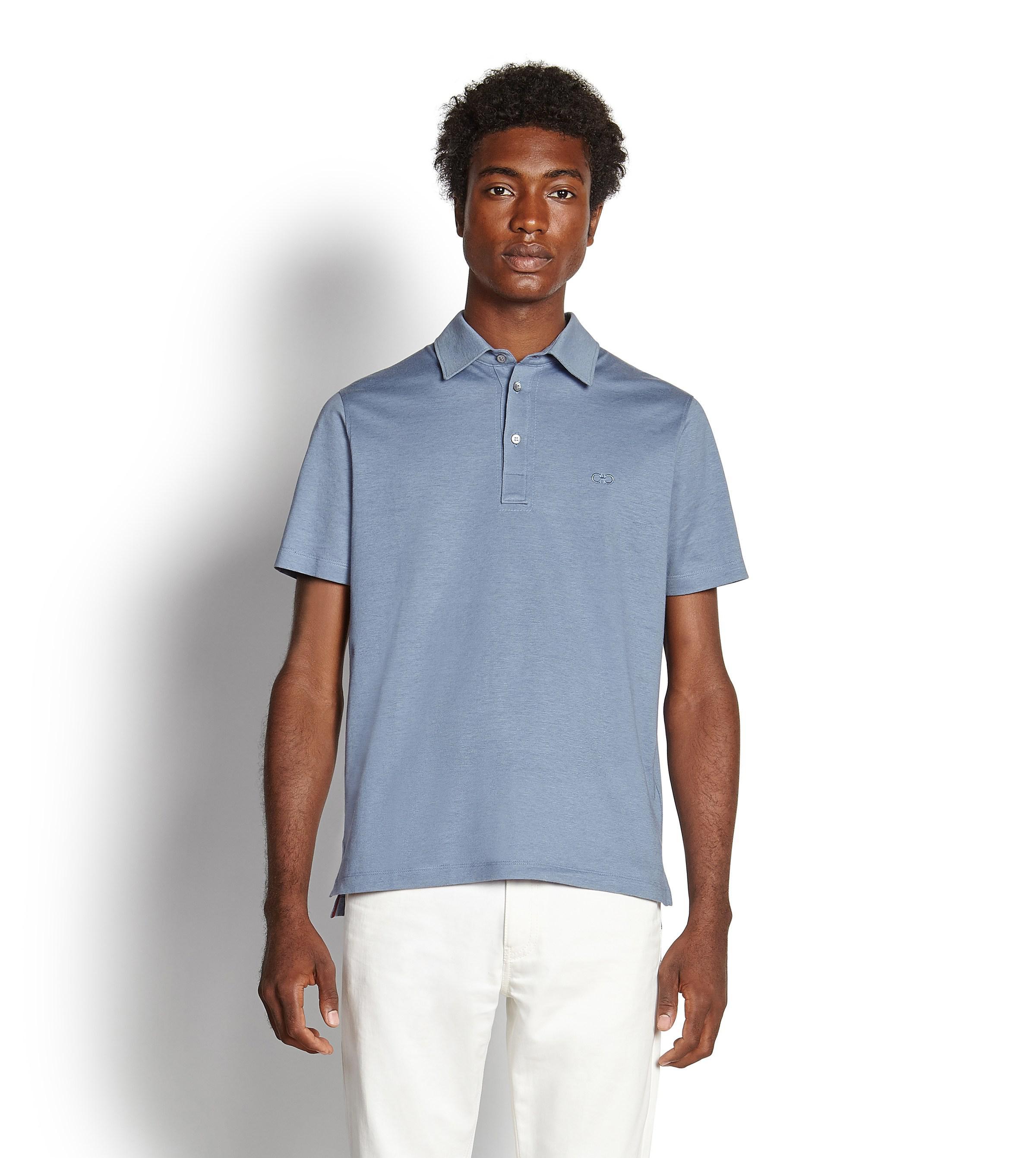 Lyst Ferragamo Cotton And Linen Polo Shirt In Blue For Men
