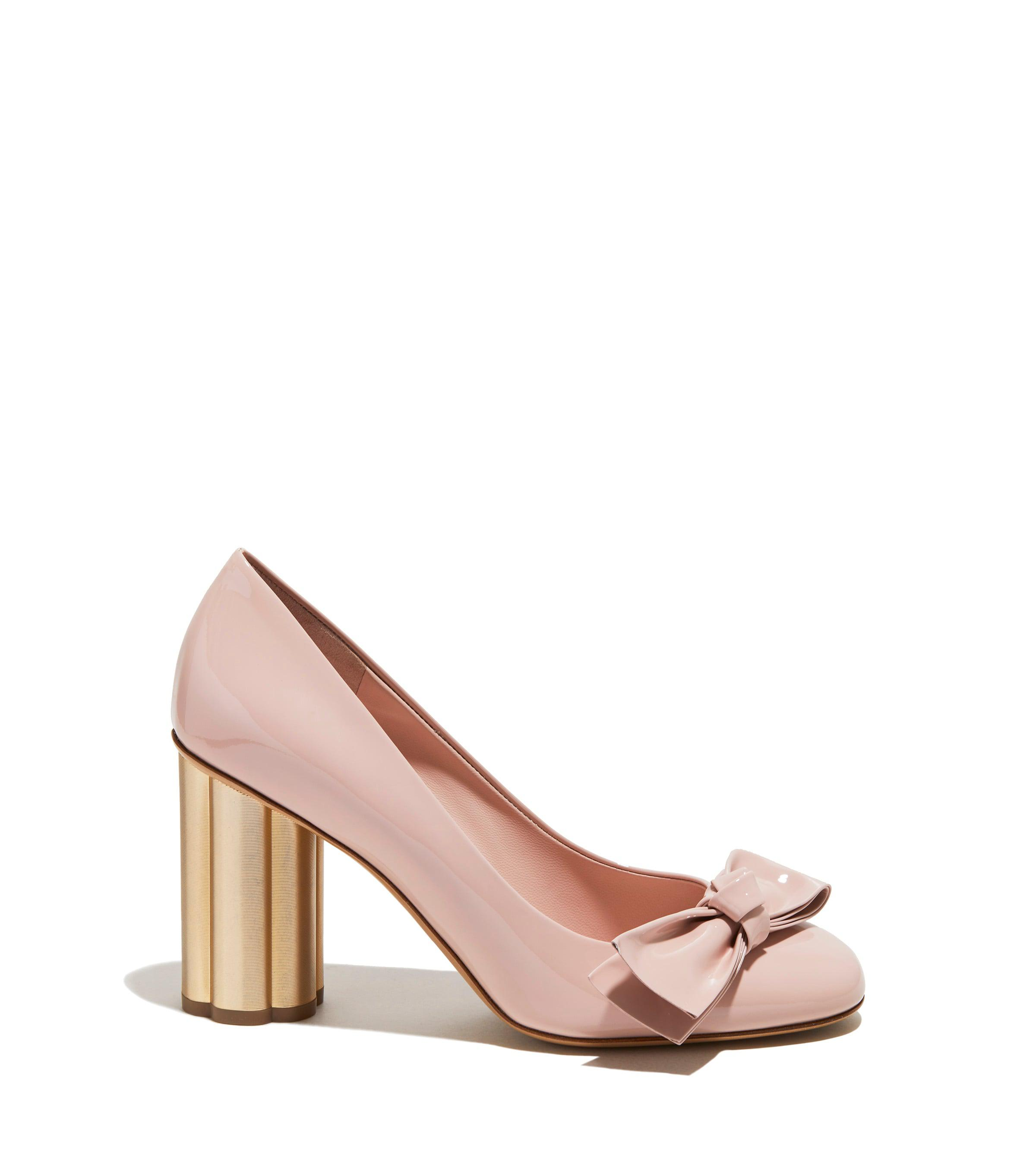 Lyst Ferragamo Flower Heel Pump Shoe In Pink
