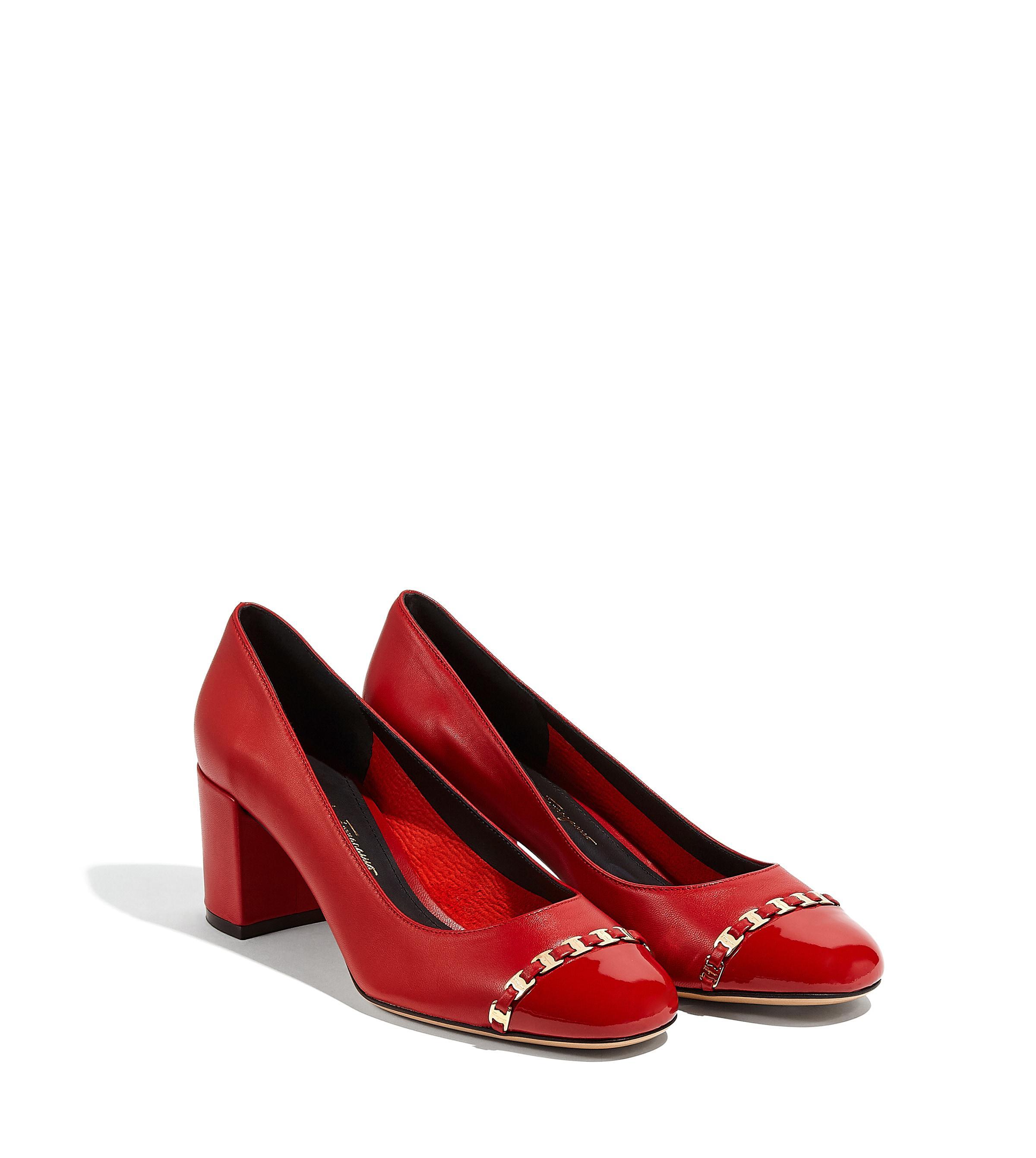 7d5f164dc5f3 Lyst - Ferragamo Vara Chain Pump Shoe in Red