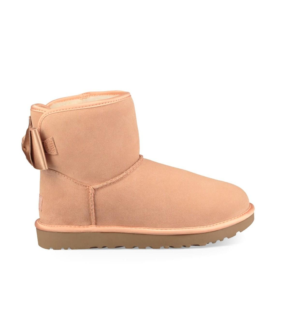 UGG Light Pink Satin Bow Mini Boot - Lyst