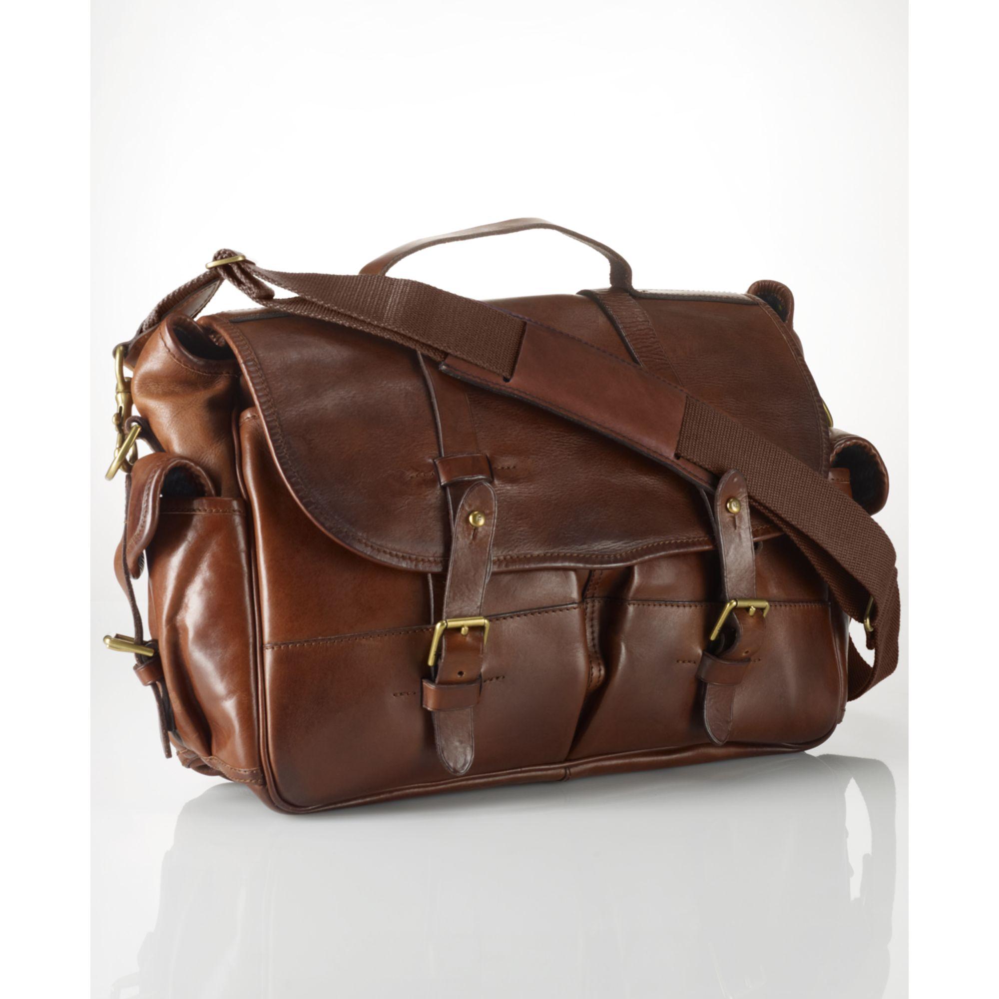 Ralph Lauren Leather Messenger Bag In Brown For Men Lyst