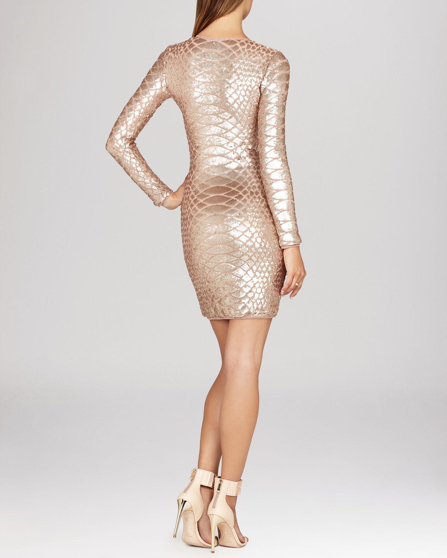 Lyst Bcbgmaxazria Dress Sabryna V Neck Sequin Python