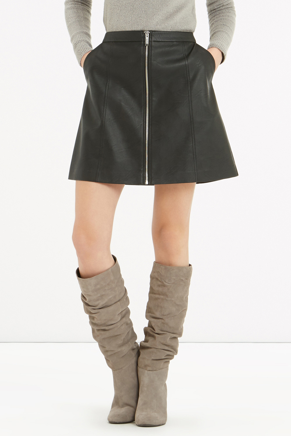 oasis zip front faux leather skirt in black lyst