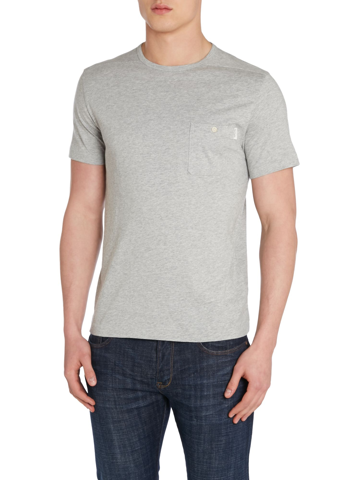 Paul Smith Stripe Crew Neck Regular Fit T Shirt In Gray
