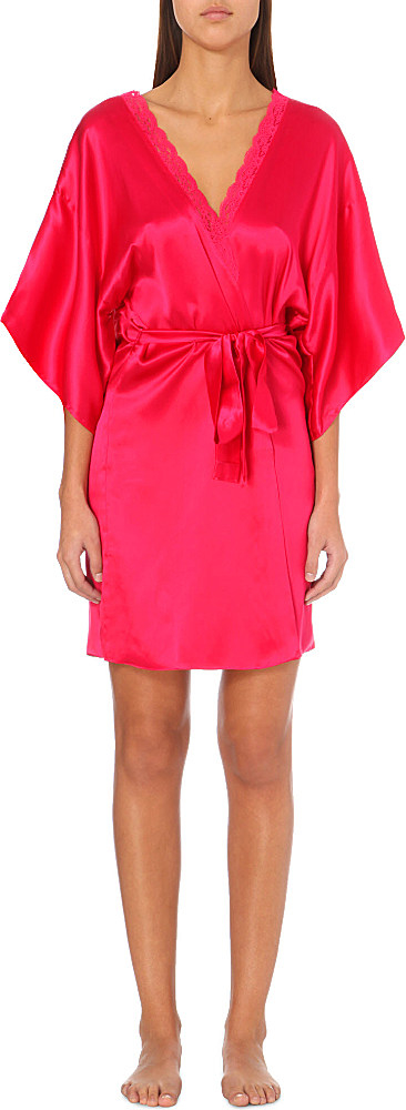 stella mccartney clara whisper silk satin robe in red lyst. Black Bedroom Furniture Sets. Home Design Ideas