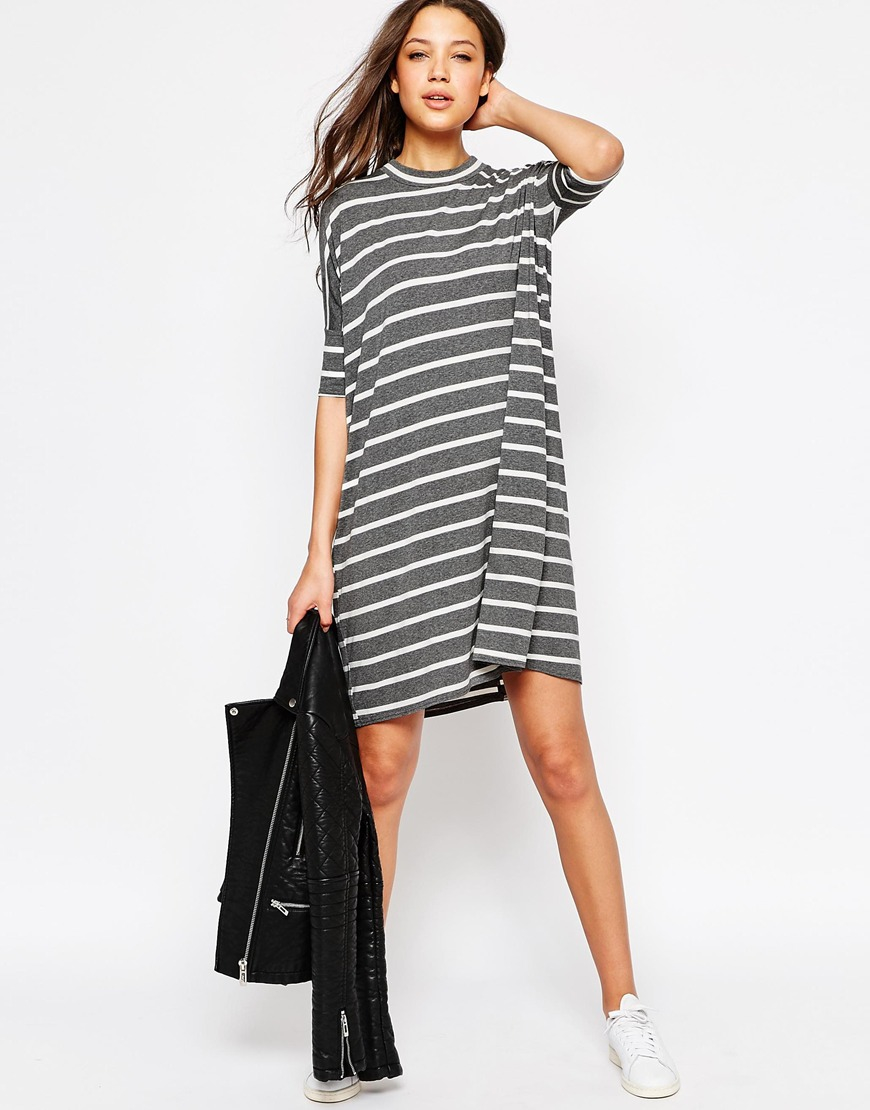 Asos Tall T Shirt Dress In Stripe In Floral Multi Lyst