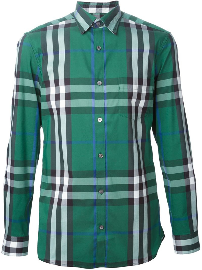 Burberry brit check print shirt in green for men lyst for Burberry brit green plaid shirt