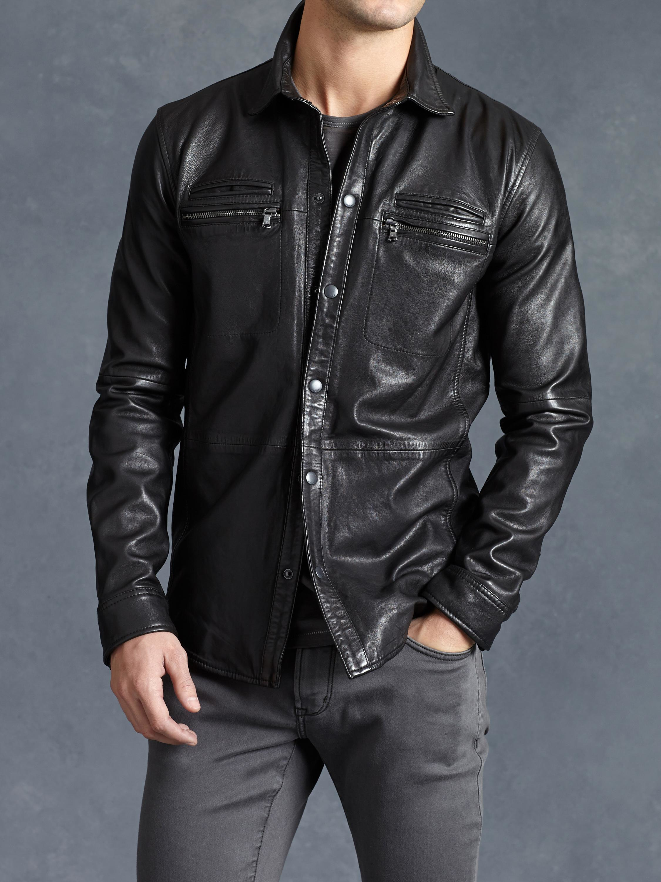 Lyst john varvatos lambskin shirt jacket in black for men for Leather jacket and shirt
