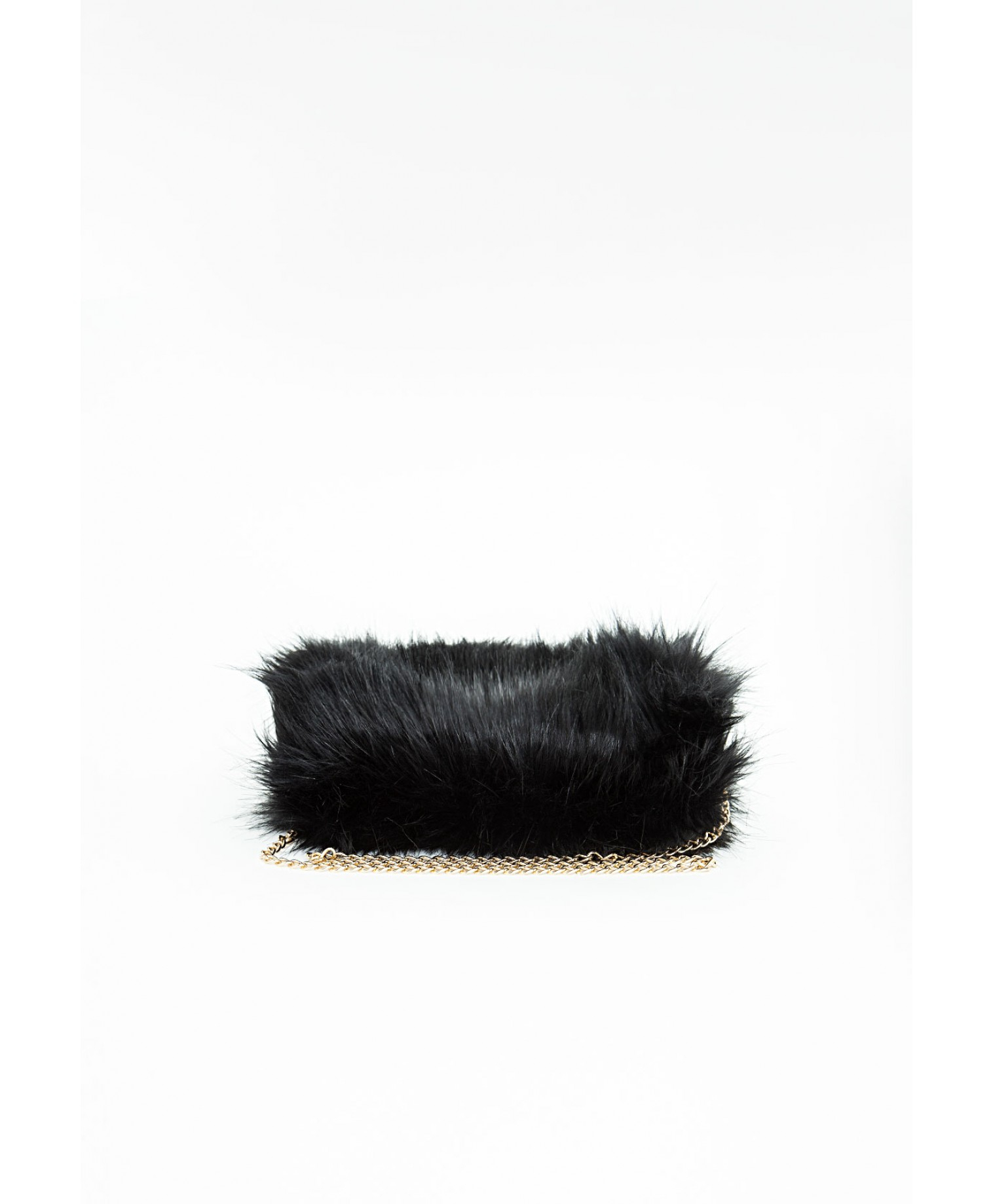 lyst missguided west faux fur chain hand muff black in black. Black Bedroom Furniture Sets. Home Design Ideas