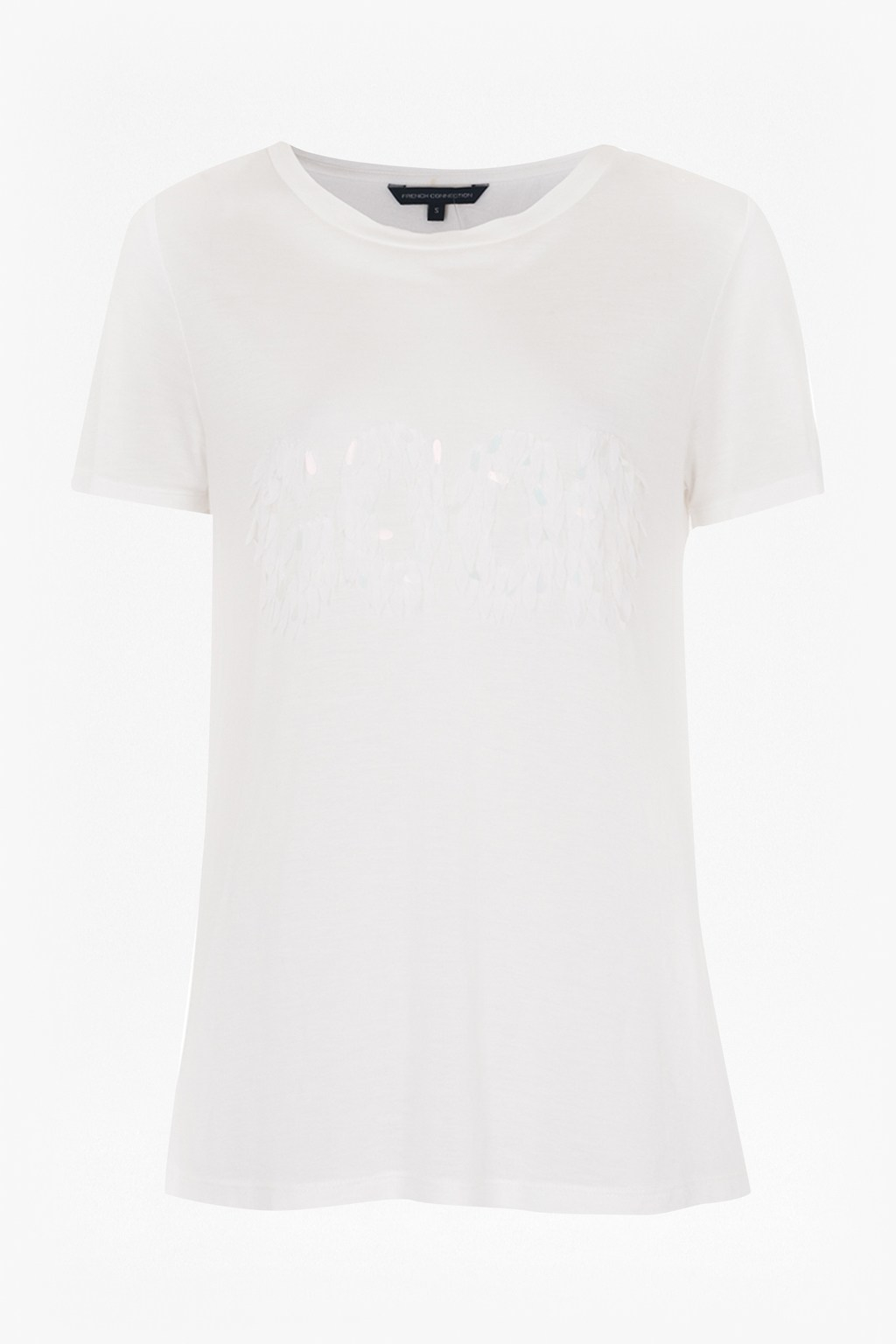 Lyst french connection good bad sequin t shirt in white for Good white t shirts