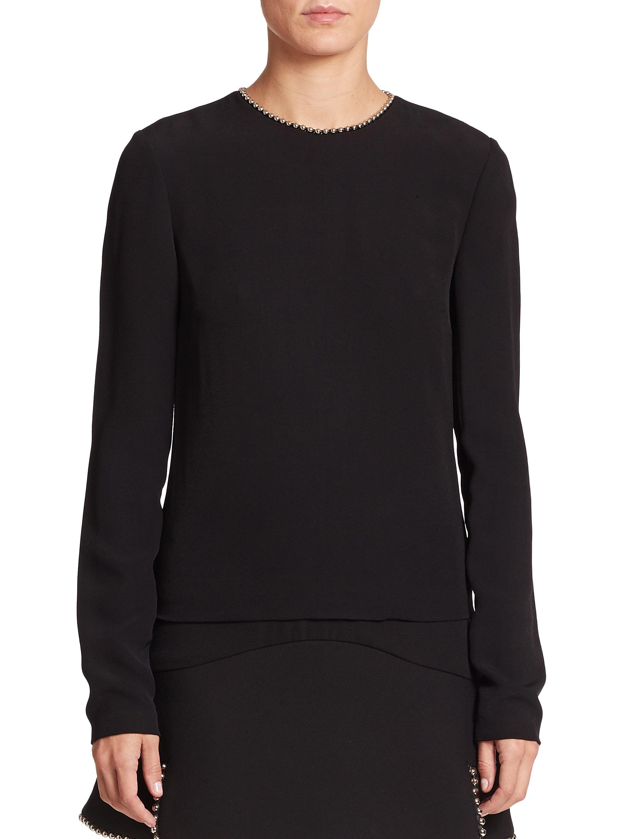 Alexander wang studded long sleeve top in black lyst for Adam lippes women s long sleeve vee t shirt