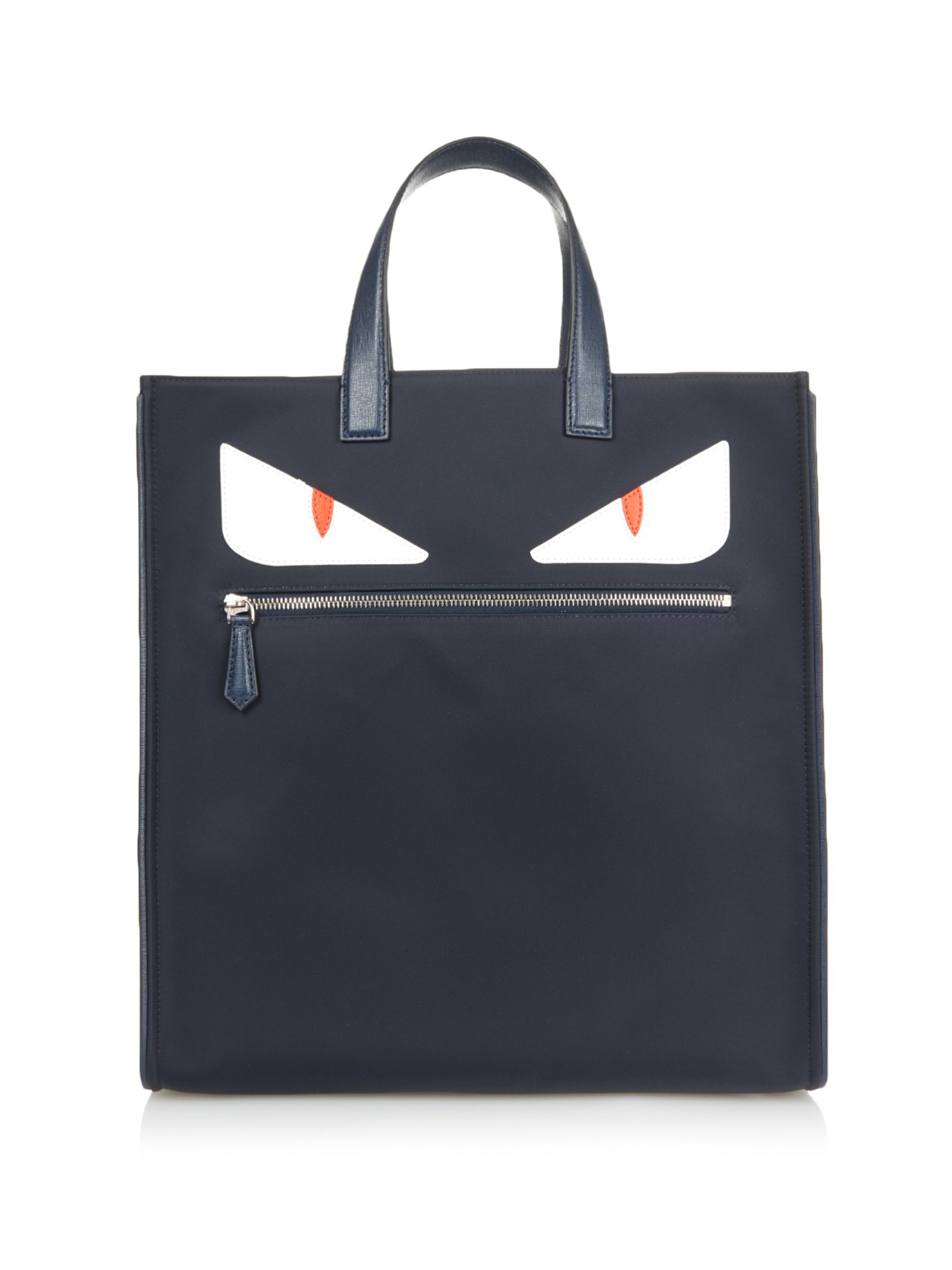 e0d8033c1b26 Lyst - Fendi Bag Bugs Leather And Nylon Tote in Blue for Men