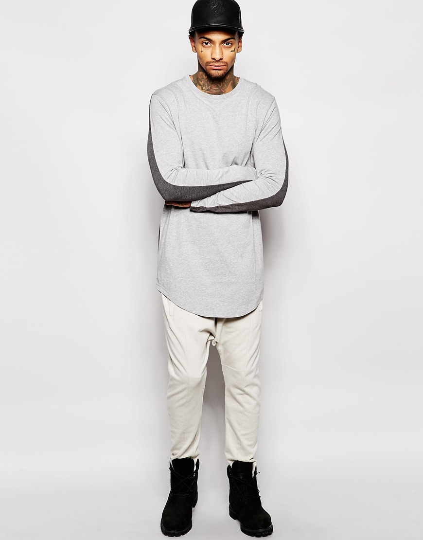fac68f4f ASOS Super Longline Long Sleeve T-shirt With Contrast Back Panel And ...