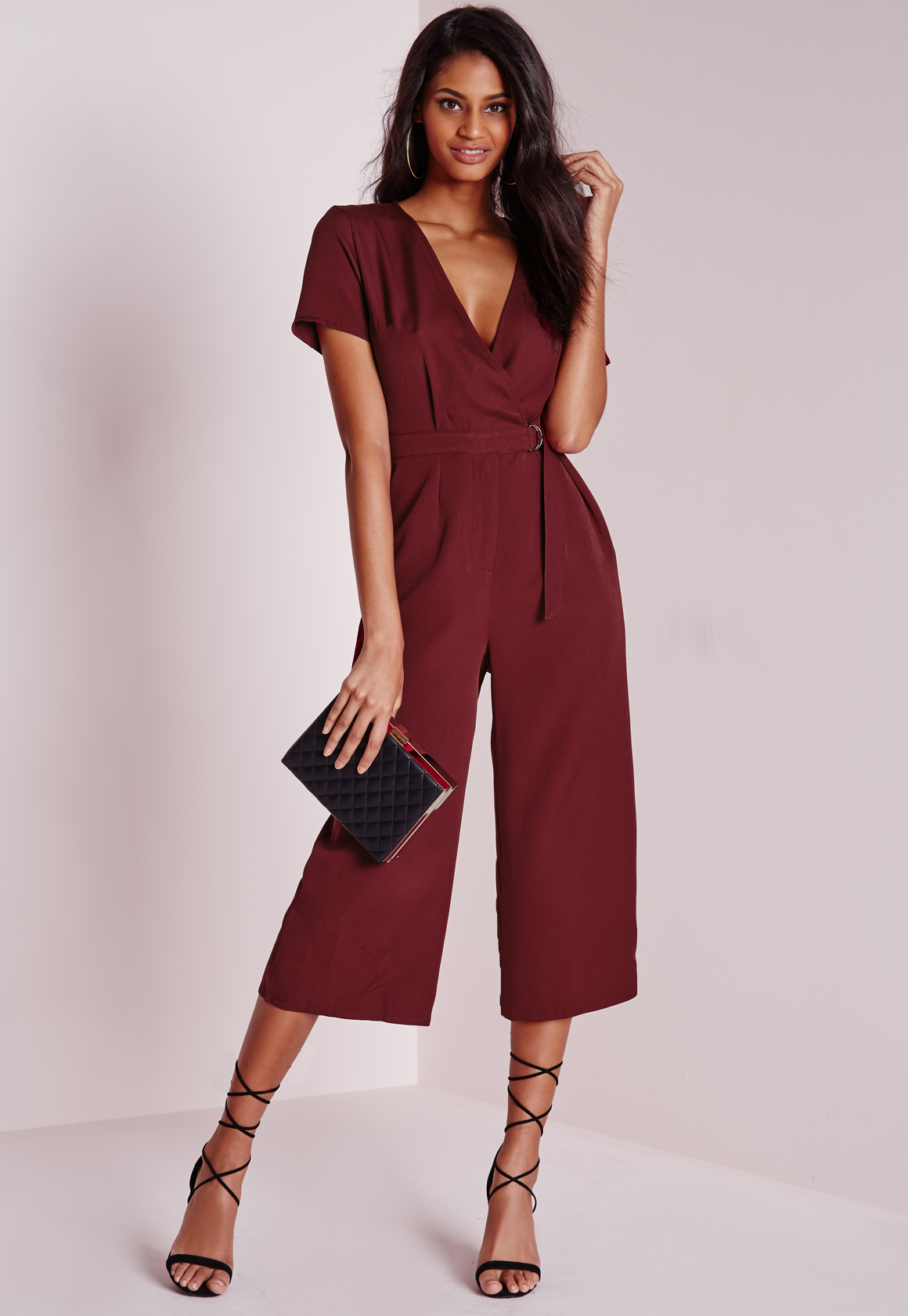 Lyst Missguided Petite D Ring Wrap Culotte Jumpsuit