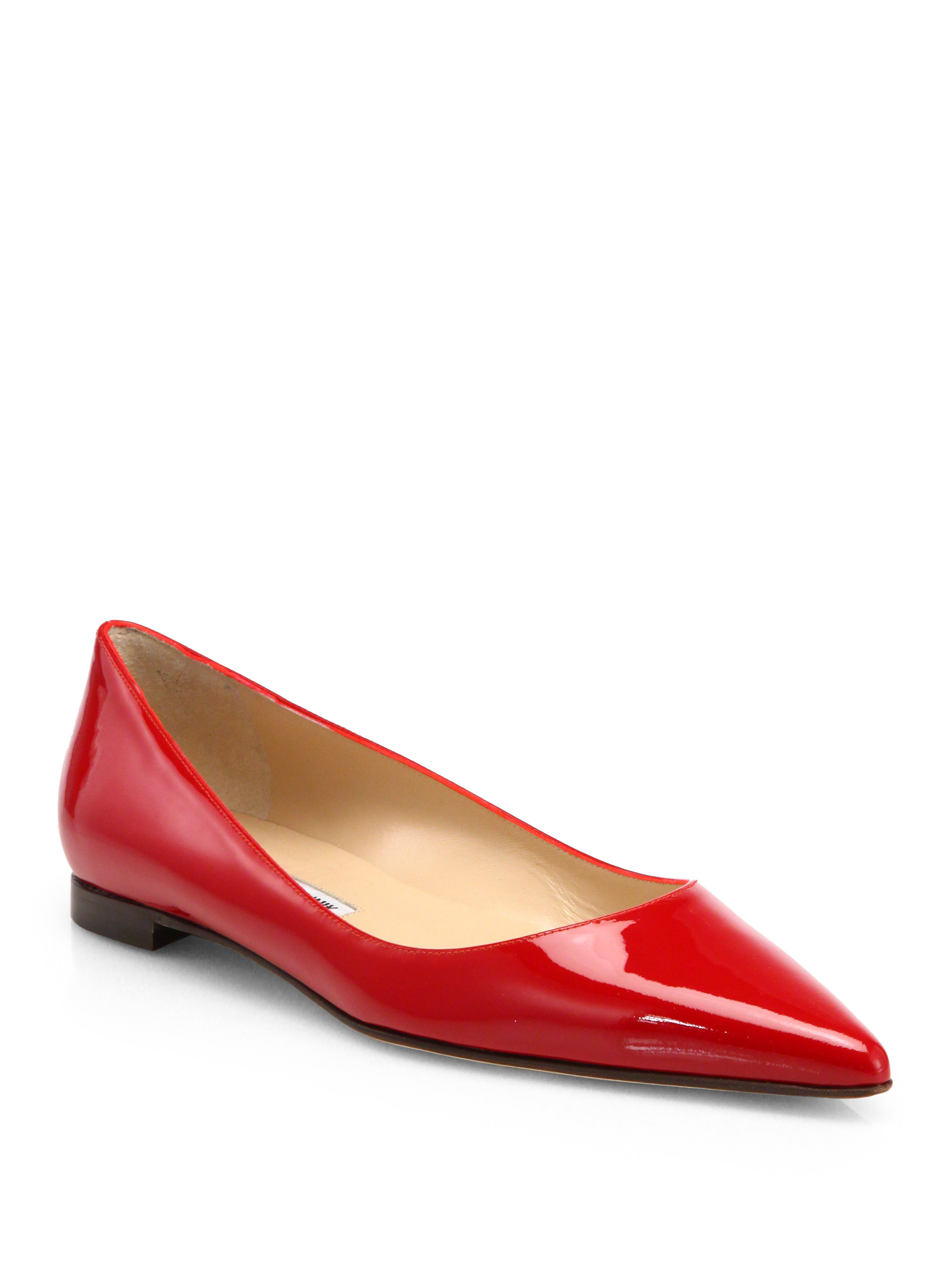 Manolo Blahnik Bb Patent Leather Ballet Flats In Red Lyst
