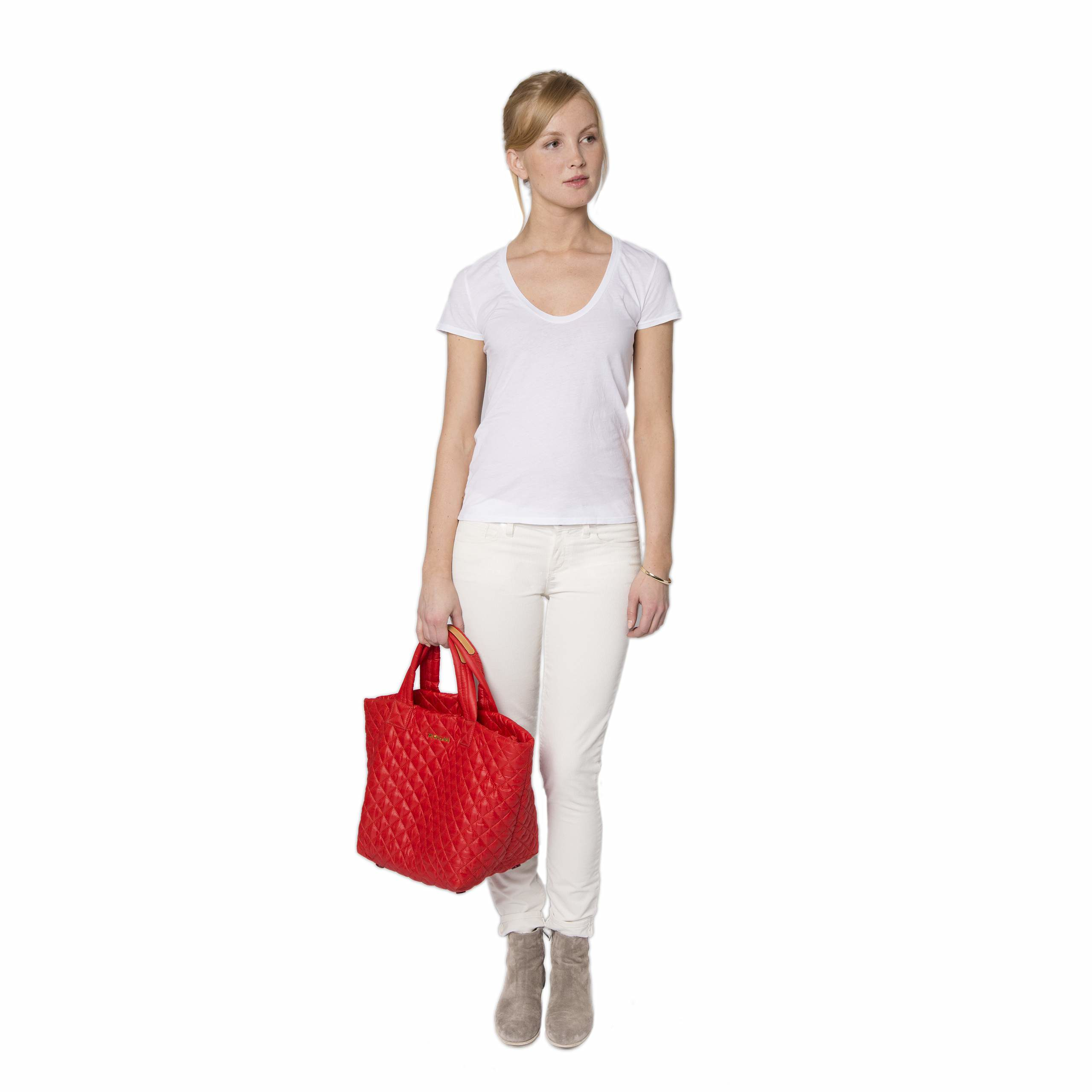 MZ Wallace Small Metro Tote Cherry Quilted Oxford Nylon in Red