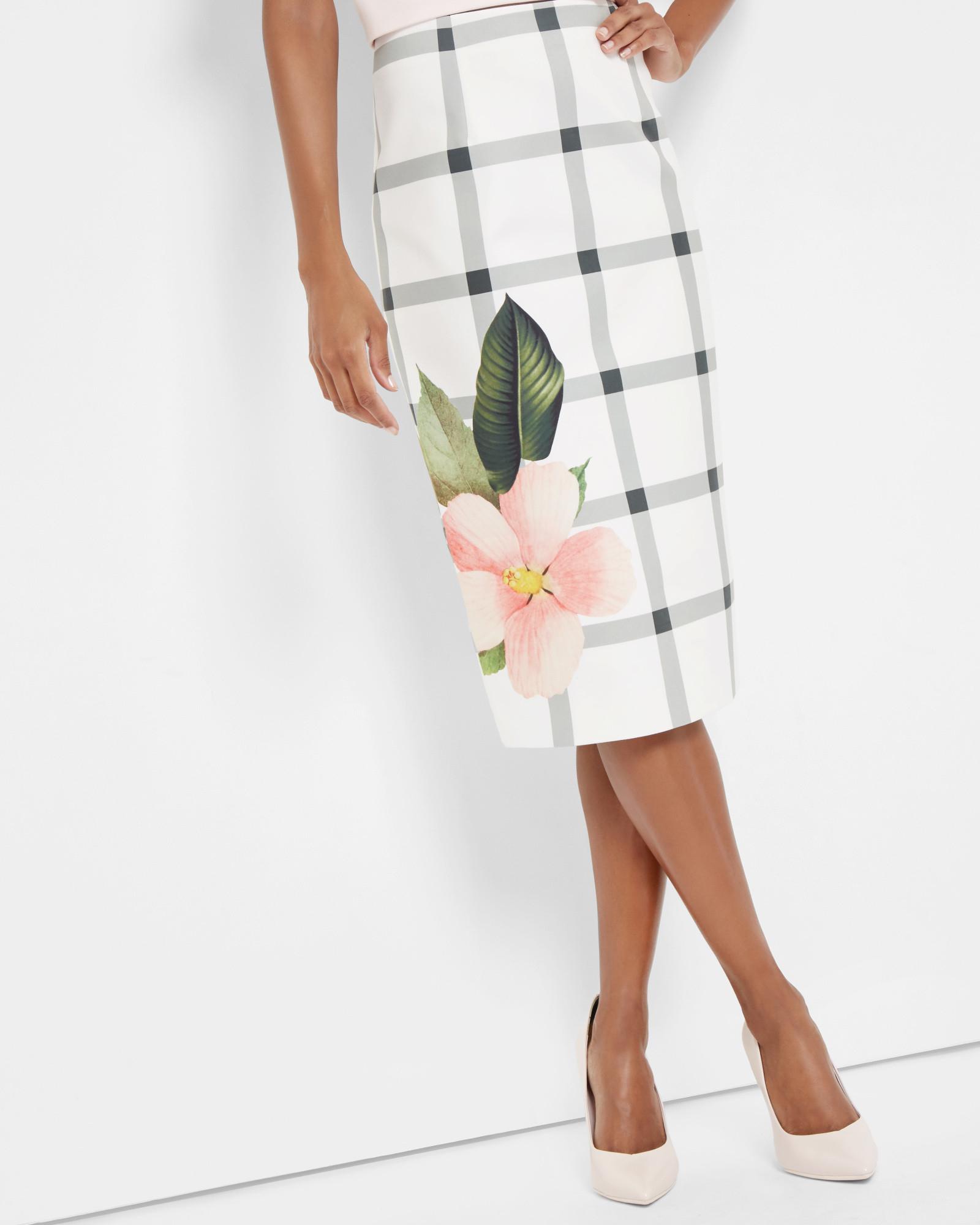 ted baker secret trellis pencil skirt in white lyst