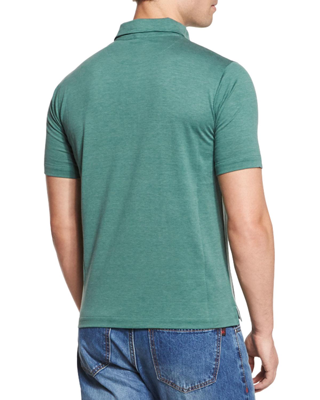 Lyst isaia short sleeved silk blend polo shirt in green for Silk short sleeve shirt