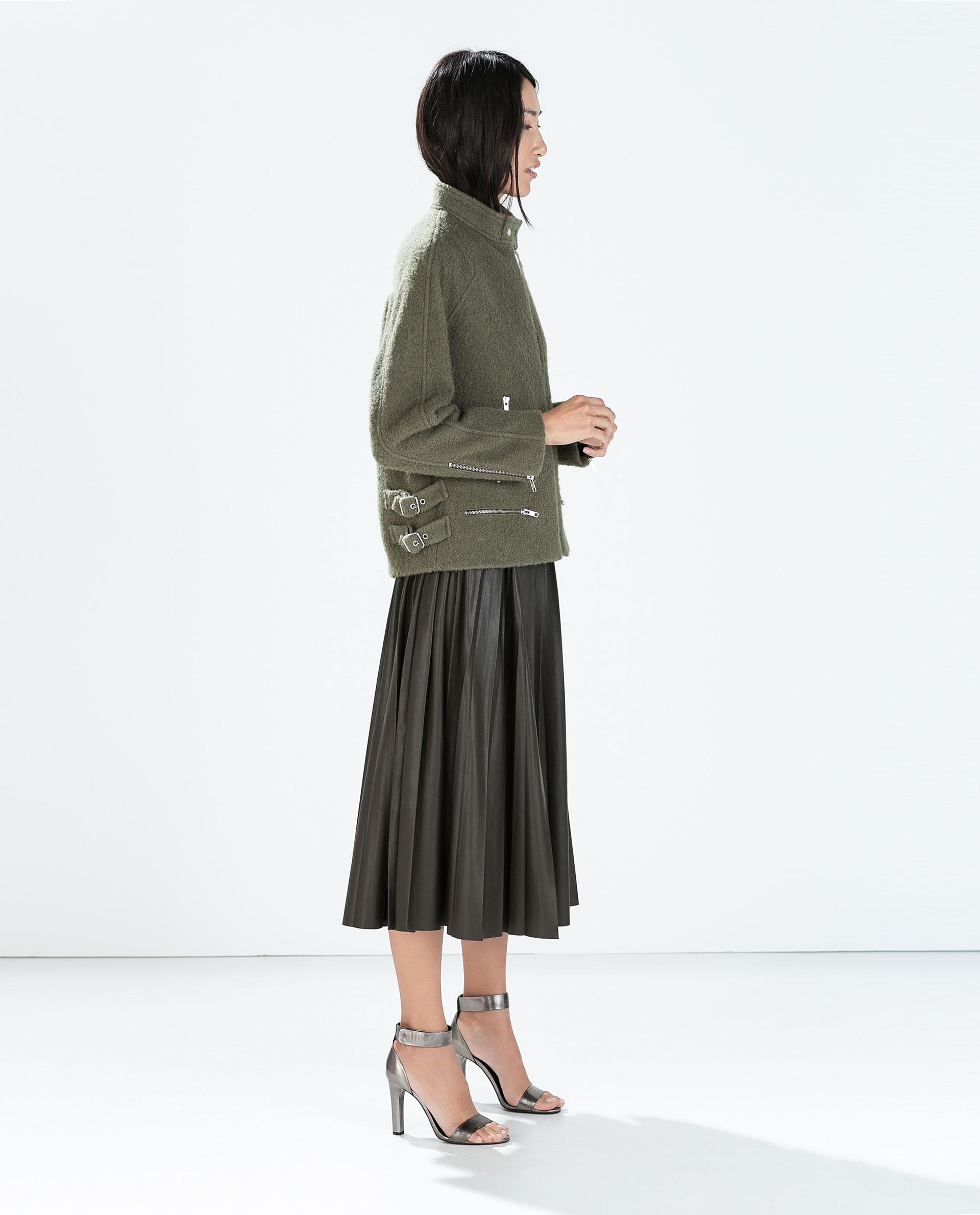 zara leather effect skirt in green lyst