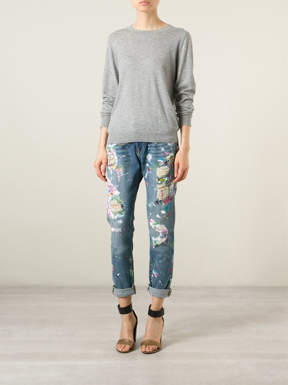 polo ralph lauren distressed paint splatter jeans in blue lyst. Black Bedroom Furniture Sets. Home Design Ideas