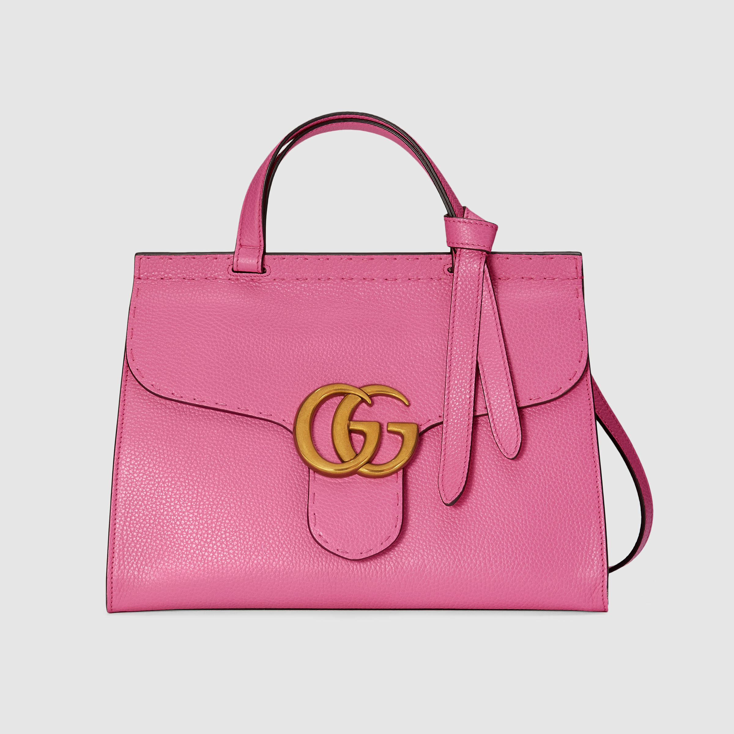 Gucci GG Marmont Leather Top Handle Bag In Pink Lyst