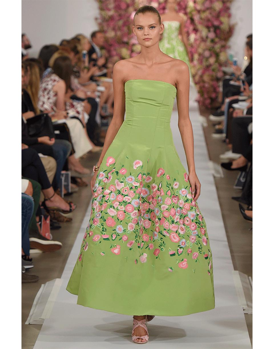 Lyst - Oscar De La Renta Embroidered Tea Length Gown