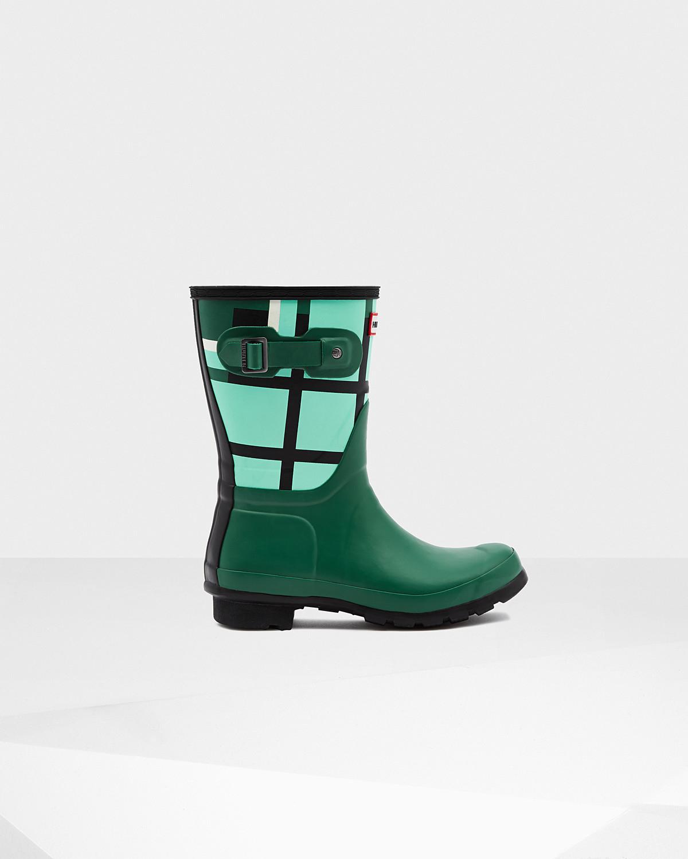 HUNTER Women's Original Short Tartan Boots in Green