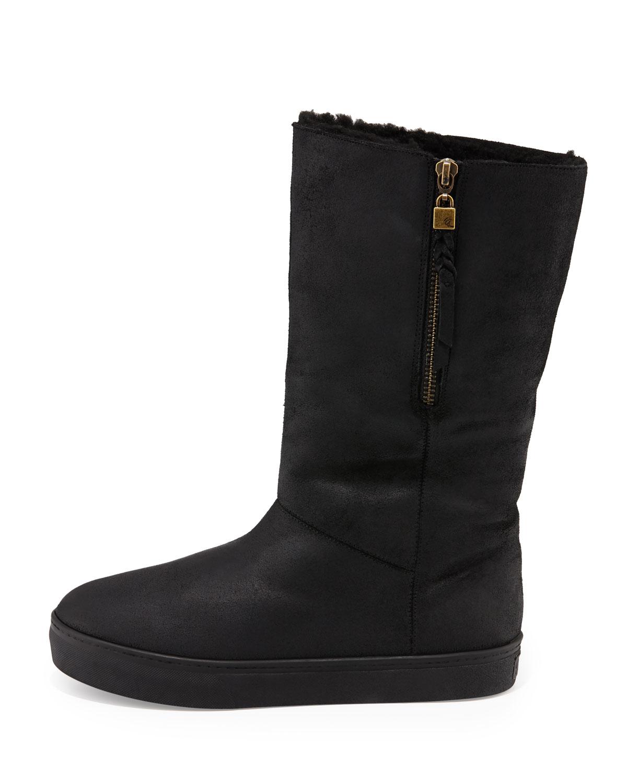 elliott lucca prima suede mid calf boot in black lyst