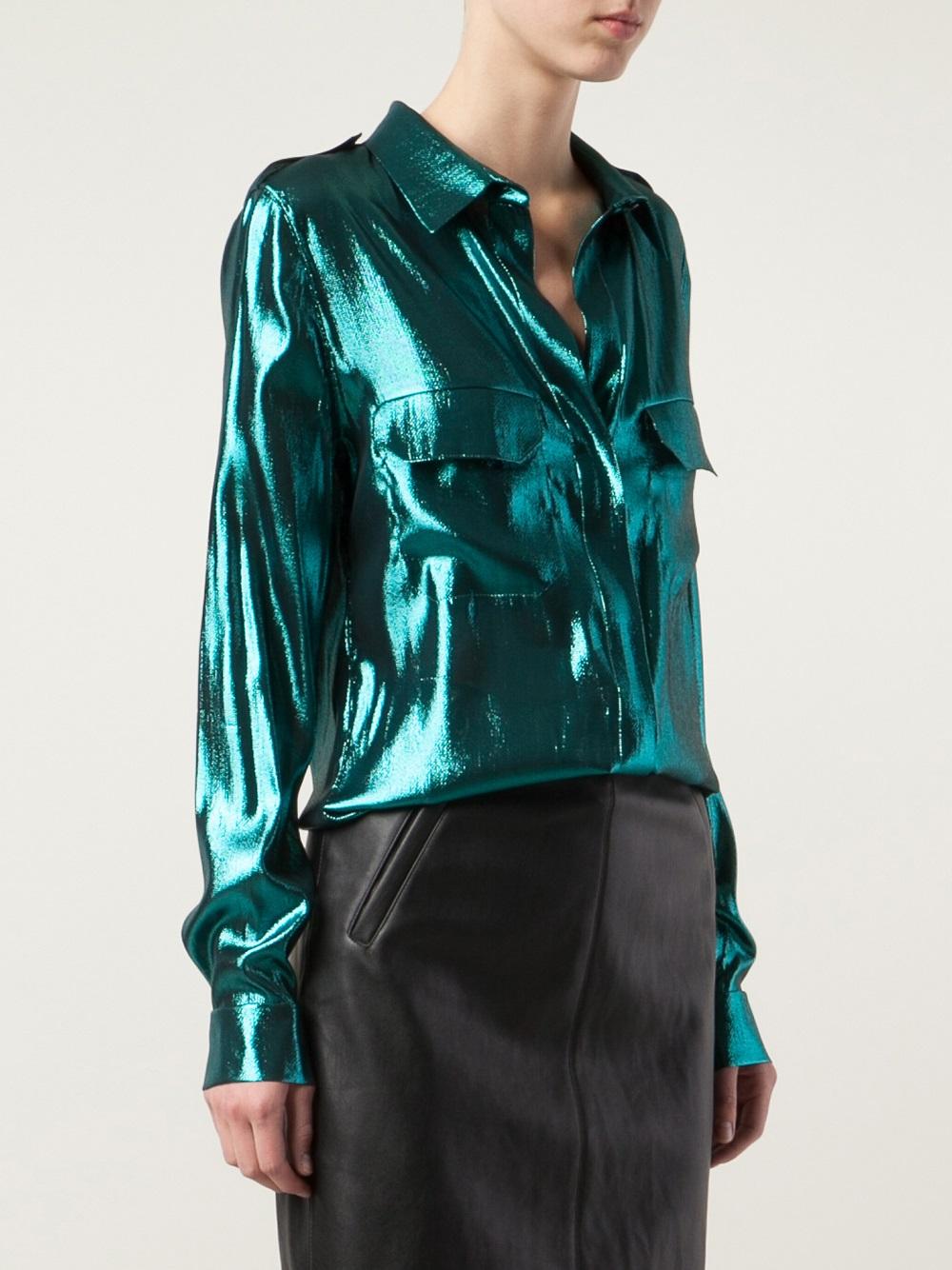 Lyst Lanvin Metallic Shirt In Green
