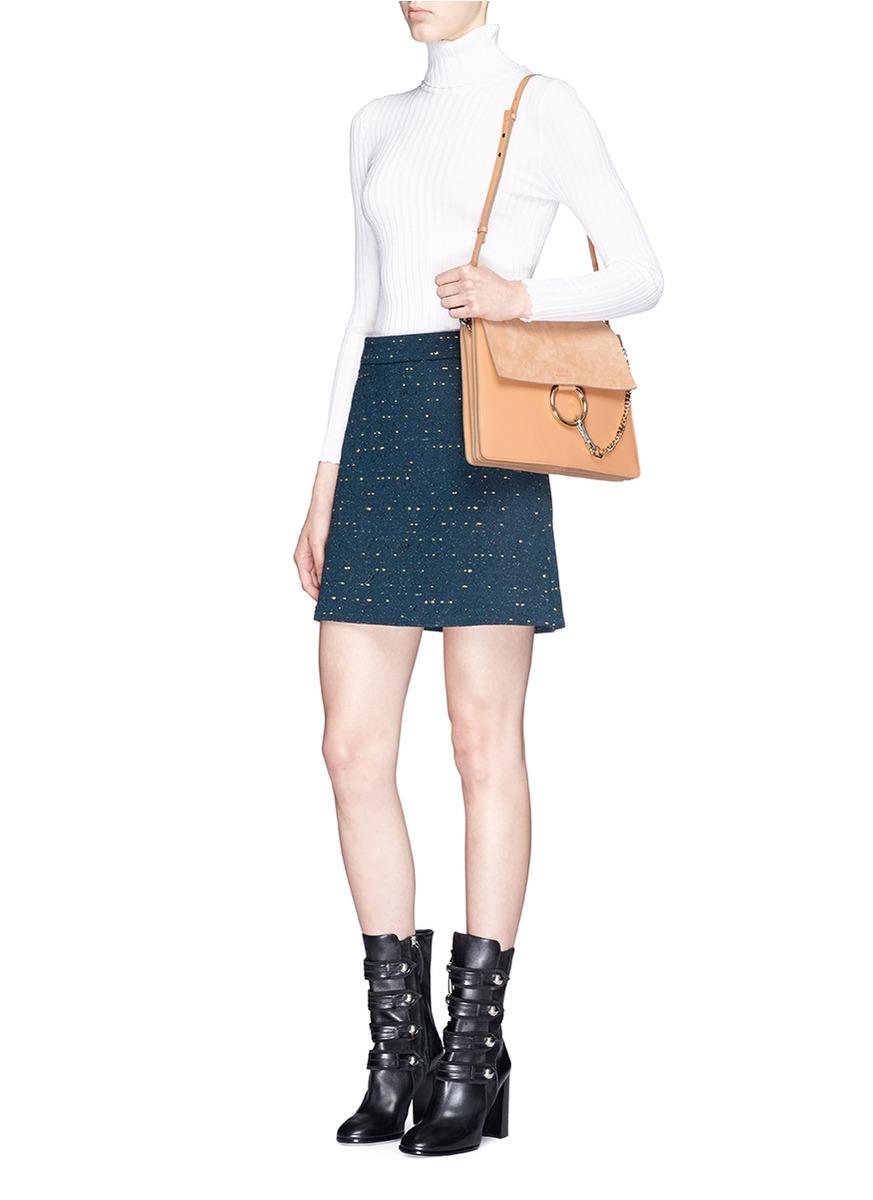 ecb4ae9a27 Chloé Natural 'faye' Medium Suede Flap Leather Shoulder Bag