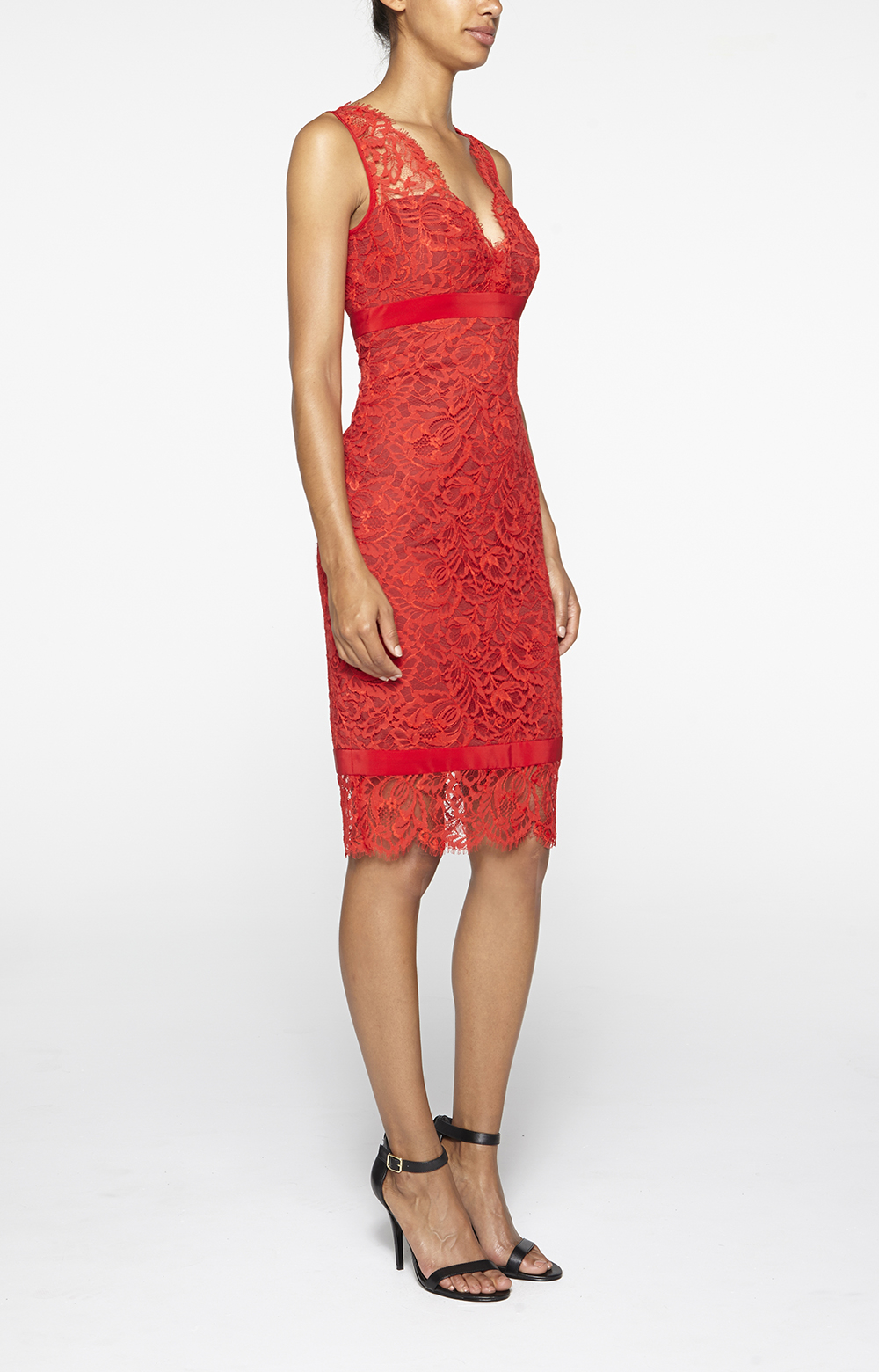 Nicole Miller Lace V Neck Dress In Red
