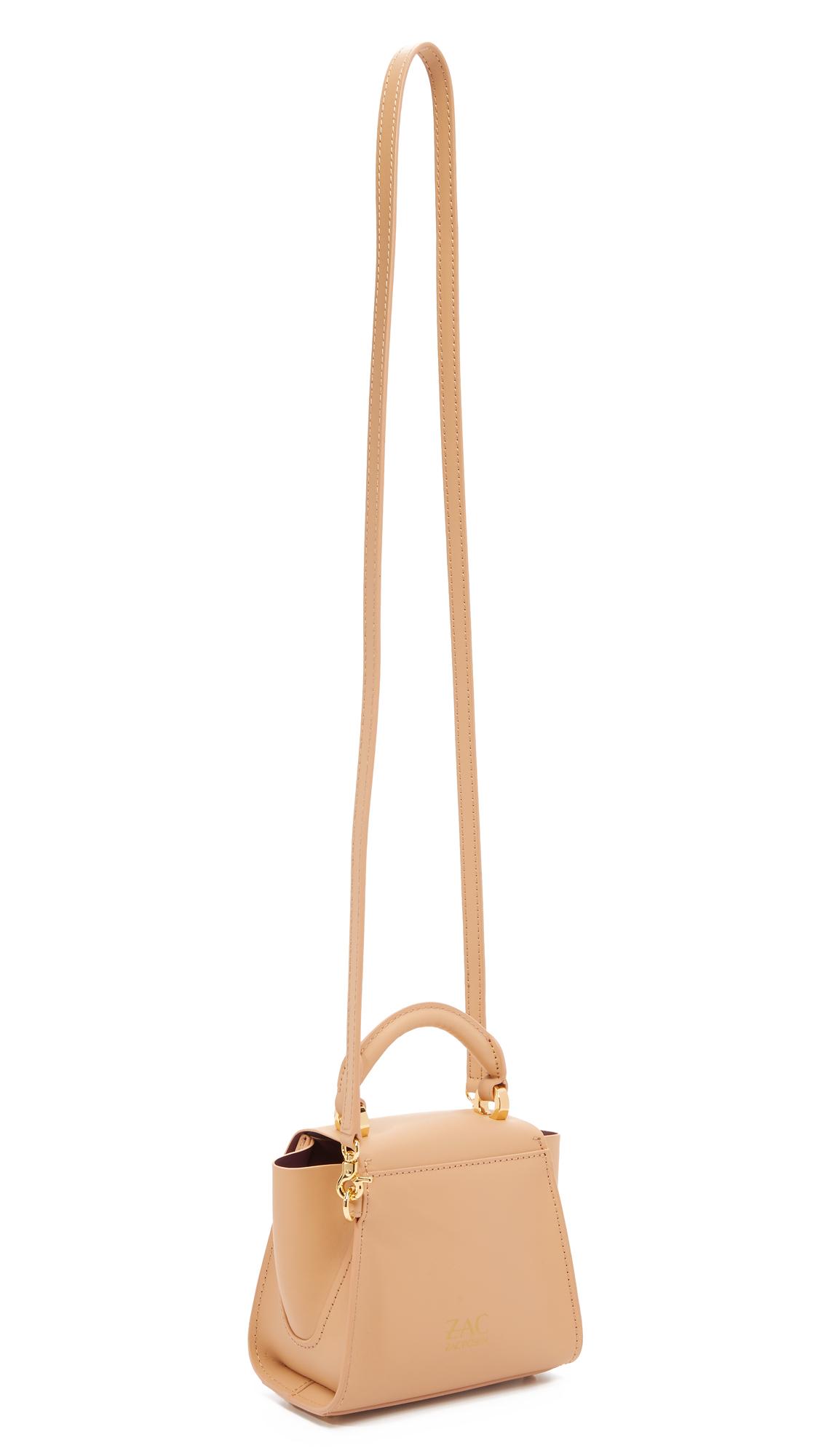 Zac Zac Posen Leather Eartha Top Handle Mini Cross Body Bag in Orange