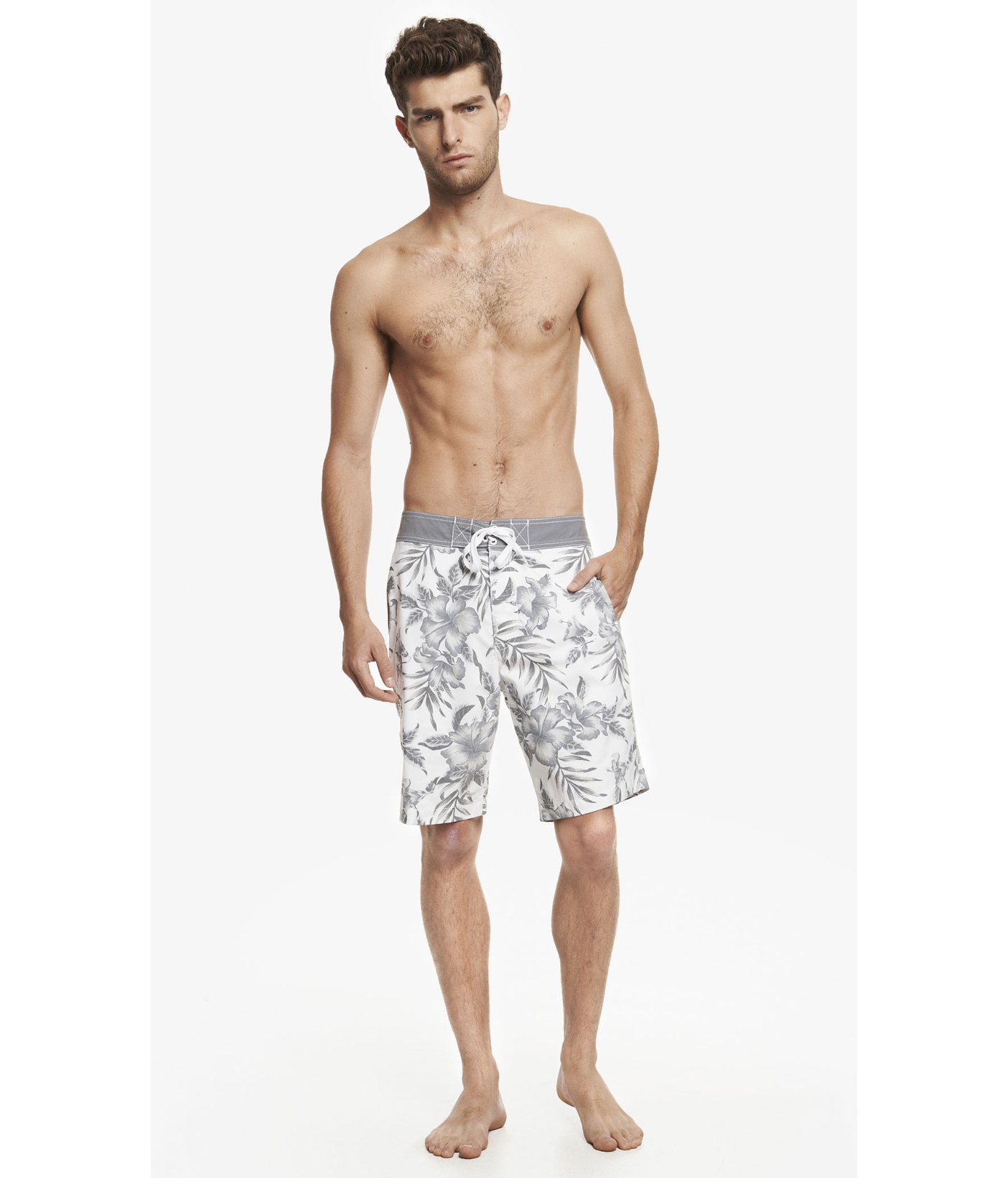 851be98120 Lyst - Express 9 Inch Hibiscus Print Board Shorts in White for Men