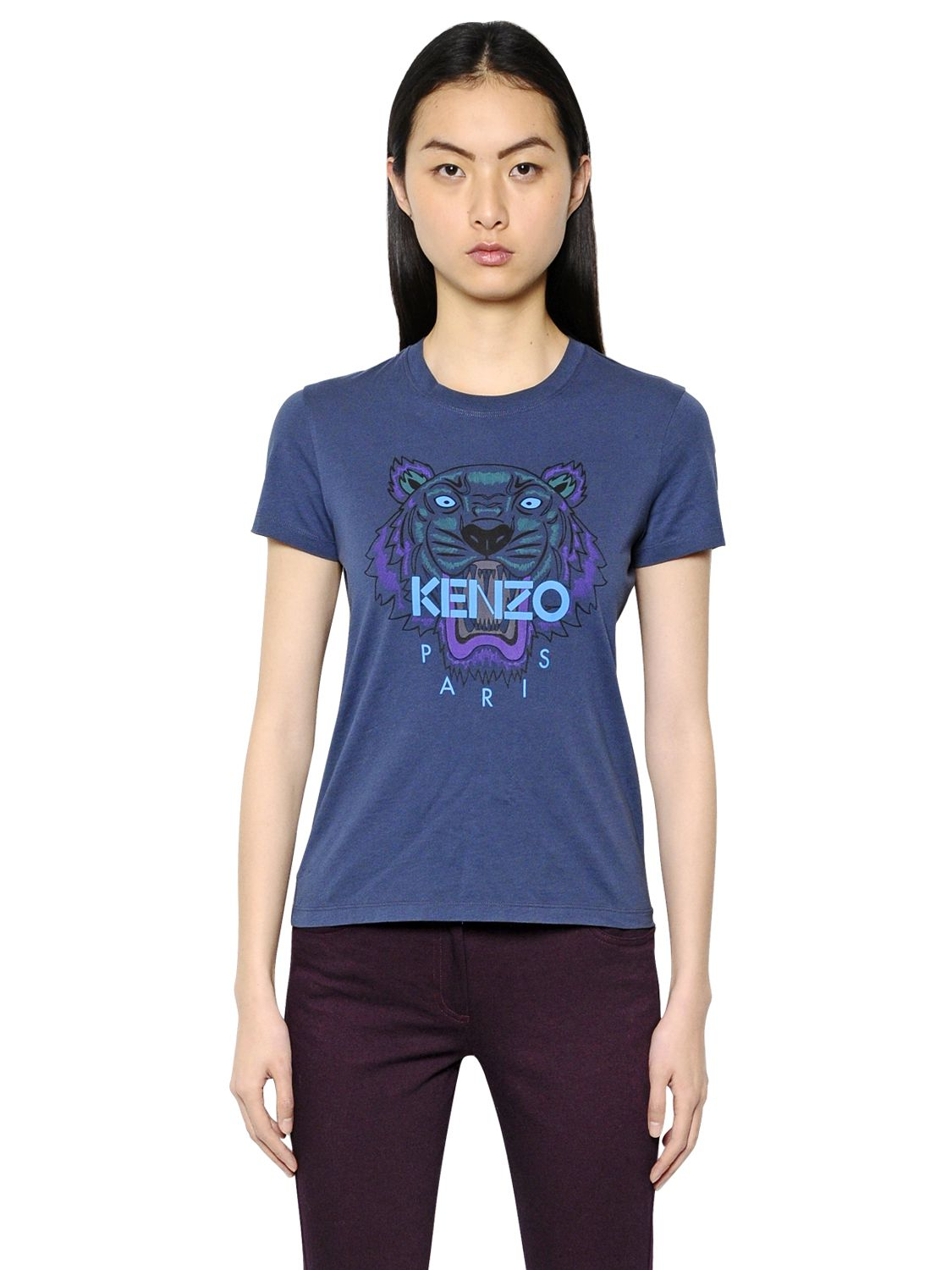 lyst kenzo tiger printed cotton t shirt in blue. Black Bedroom Furniture Sets. Home Design Ideas